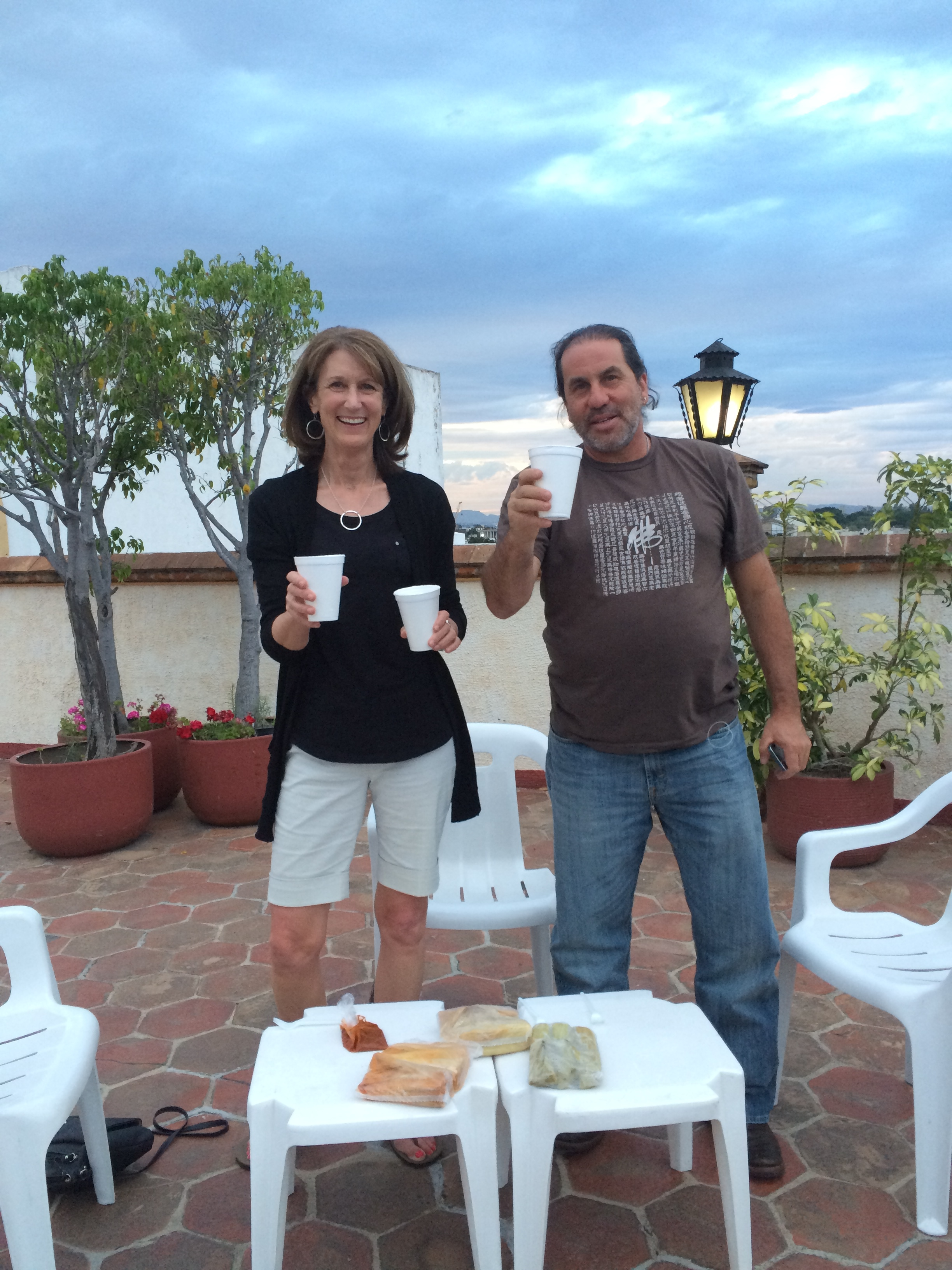Tamales (that Joaquin personally delivered for us) and margaritas on the hotel roof deck.